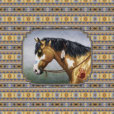 Native American War Horse Painting - Buckskin Native American War Horse Southwest by Crista Forest