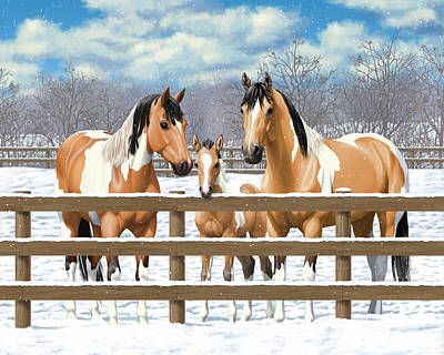 Quarter Horse Painting - Buckskin Paint Horses In Snow by Crista Forest