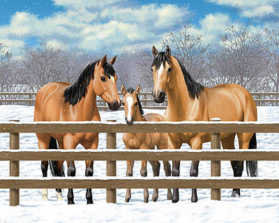 Dun Horse Painting - Buckskin Quarter Horses In Snow by Crista Forest
