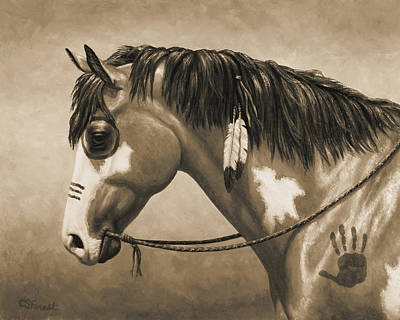 Native American War Horse Painting - Buckskin War Horse In Sepia by Crista Forest
