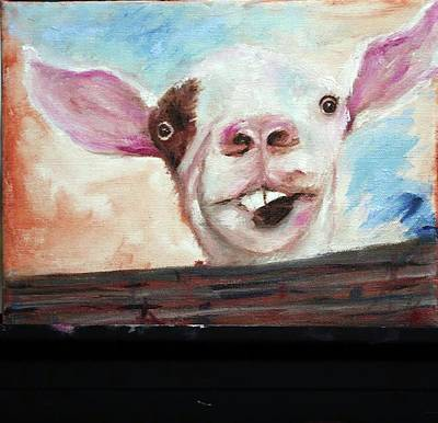 Painting - Bucktooth'd Goat Part Of Barnyard Series by Debbie Frame Weibler