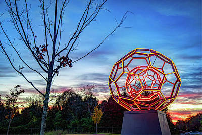 Photograph - Buckyball Lights At Dusk - Bentonville Arkansas by Gregory Ballos