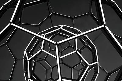 Photograph - Buckyball Tubes Of Light - Black And White by Gregory Ballos