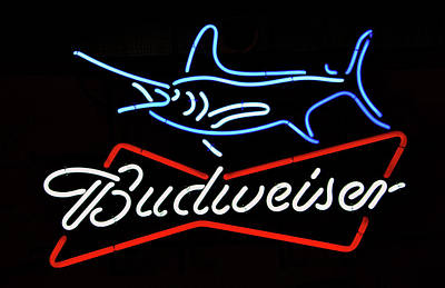 Photograph - Bud Neon Fish Sign Fish Responsibly by David Lee Thompson