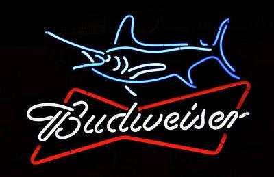 Bud Neon Fish Sign Fish Responsibly Art Print by David Lee Thompson