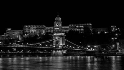 Buda Castle And Szechenyi Chain Bridge Over The Danube River Art Print