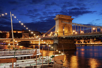 Photograph - Budapest By Night With Chain Bridge On Danube River by Artur Bogacki