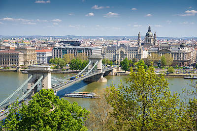Photograph - Budapest Chain Bridge Crossing Danube by Matthias Hauser