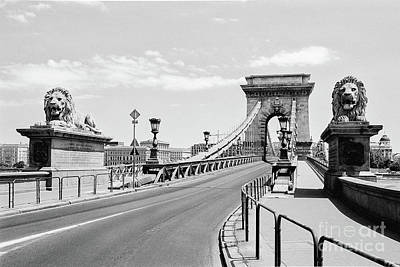 Photograph - Budapest Chain Bridge In Black And White by Dean Harte