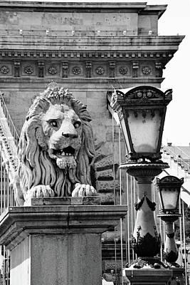 Colorful Button - Budapest Chain Bridge Lion by Kathy Yates