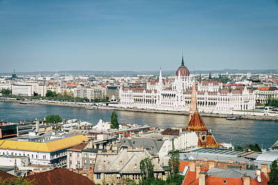 School Tote Bags Royalty Free Images - Budapest city center and the Danube River Royalty-Free Image by Alexey Stiop