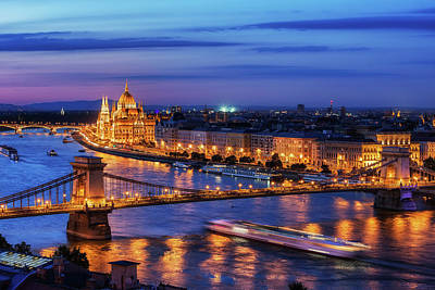 Photograph - Budapest City In Hungary At Evening Twilight by Artur Bogacki