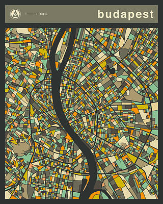 Budapest Digital Art - Budapest City Map by Jazzberry Blue