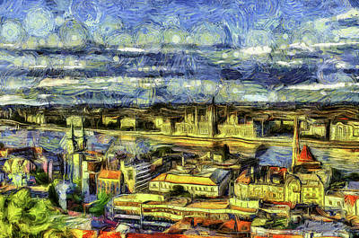 Mixed Media - Budapest City Vincent Van Gogh by David Pyatt