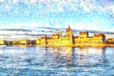 City Sunset Mixed Media - Budapest Danube Sunset Watercolour by David Pyatt