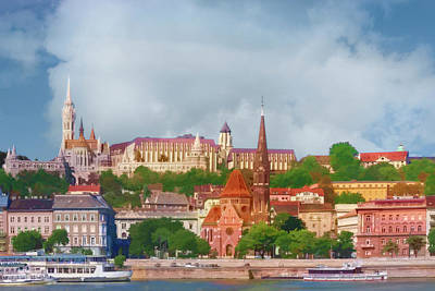 Photograph - Budapest, Hungary Castle District Watercolor by Kay Brewer