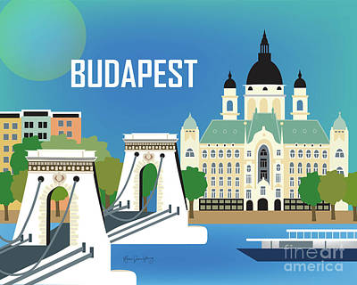 Framed Art Digital Art - Budapest Hungary Horizontal Scene by Karen Young