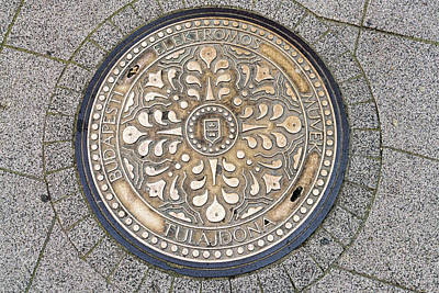 Photograph - Budapest Manhole Cover by Sharon Popek