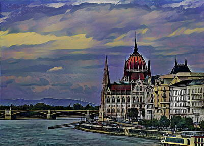 River Painting - Budapest Parliament Building by Russ Harris