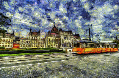 Mixed Media - Budapest Parliament Vincent Van Gogh by David Pyatt