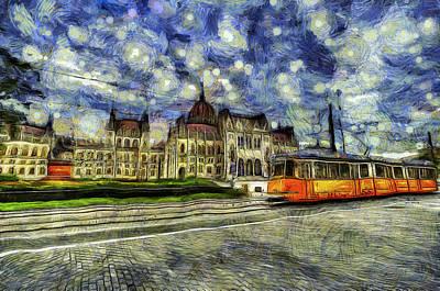 Tram Mixed Media - Budapest Parliament Vincent Van Gogh by David Pyatt