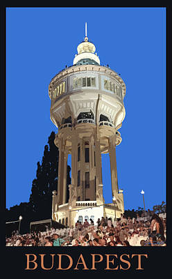 Belle Epoque Mixed Media - Budapest Poster - Margaret Island Water Tower by James Dougherty