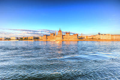 Photograph - Budapest River Danube Sunset by David Pyatt