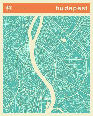 Budapest Digital Art - Budapest Street Map by Jazzberry Blue