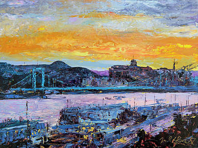 Painting - Budapest Sunset With The Danube by Judith Barath