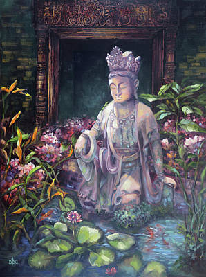 Budda Statue And Pond Art Print
