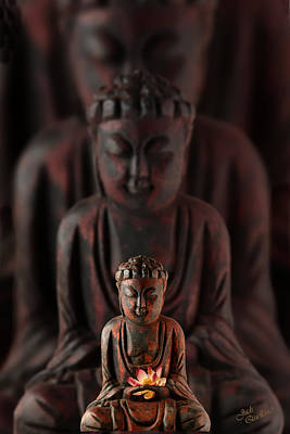 Buddah With Lotus Flower Art Print