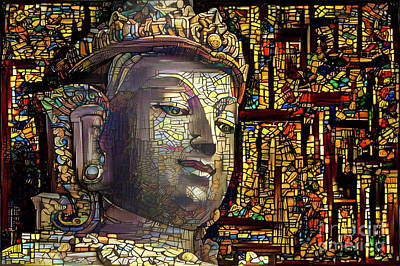 Stained Glass Digital Art - Buddha 4 by Amy Cicconi