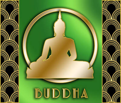 Digital Art - Buddha And Circle - Green by Chuck Staley