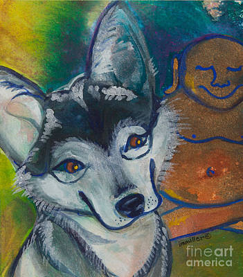 Buddha And The Divine Husky No. 1327 Art Print by Ilisa Millermoon