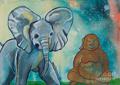 Gouache Painting - Buddha And The Divine Baby Elephant No. 1376 by Ilisa Millermoon