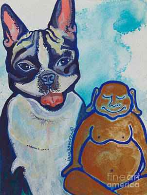 Buddha And The Divine Boston Terrier No. 1331 Art Print by Ilisa Millermoon