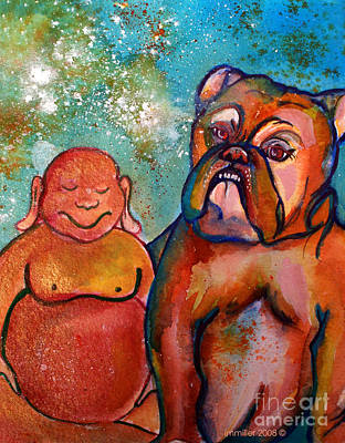 Gouache Painting - Buddha And The Divine Bulldog No. 1316 by Ilisa Millermoon