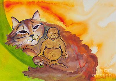 Buddha-nature Painting - Buddha And The Divine Cat No. 2098 by Ilisa Millermoon