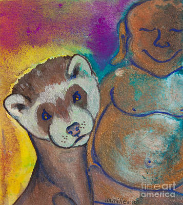 Ferret Painting - Buddha And The Divine Ferret No. 1317 by Ilisa Millermoon