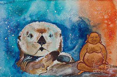 Gouache Painting - Buddha And The Divine Otter No. 1374 by Ilisa Millermoon