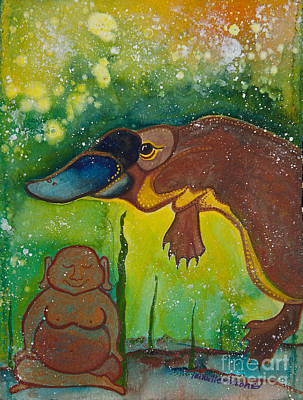 Buddha And The Divine Platypus No. 1375 Art Print by Ilisa Millermoon