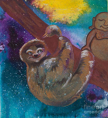 Sloth Painting - Buddha And The Divine Sloth No. 2087 by Ilisa Millermoon