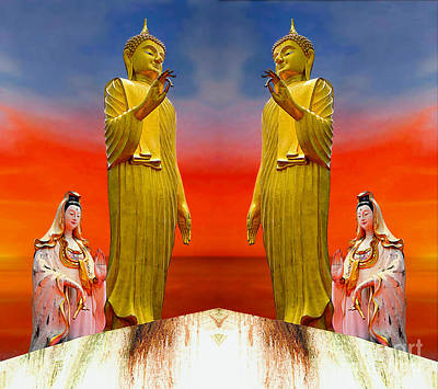 Digital Art - Buddha And Quan Yin Asian Gods by Ian Gledhill