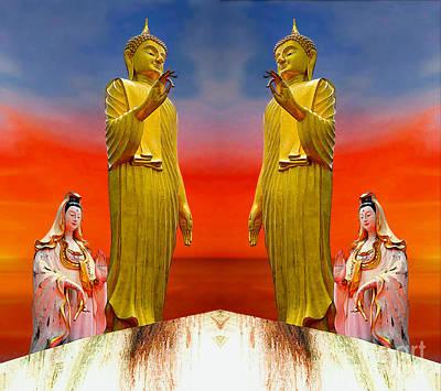 Digital Art - Buddha And Quan Yin Asian Gods by Ian Gledhill