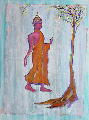 Painting - Walking Buddha And The Raintree by Asha Carolyn Young