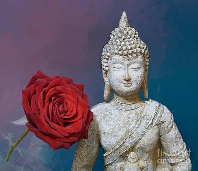 Buddha And Rose Art Print by Pete Trenholm