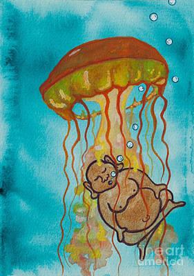 Buddha-nature Painting - Buddha And The Divine Jellyfish No. 2274 by Ilisa Millermoon