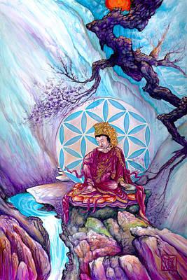 Buddha And The Flower Of Life Art Print