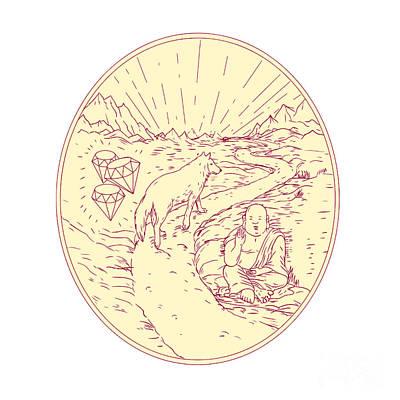Buddha And Wolf On Road Diamonds Drawing Art Print