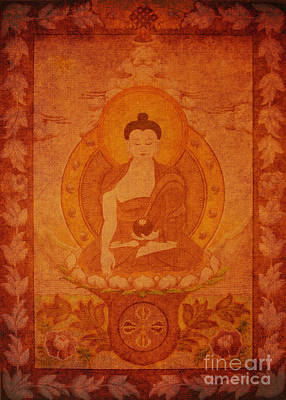 Drawing - Buddha Antique Tapestry by Alexa Szlavics
